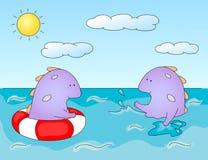 Lovely imaginary dragons splashing in the water. Оne monster sw Stock Images