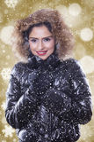 Lovely indian woman wearing winter jacket Royalty Free Stock Photography