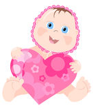 Lovely infant. Vector illustration of lovely infant with pink heart Stock Photography