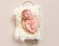 Lovely infant in a flowery hairband, topview Royalty Free Stock Images