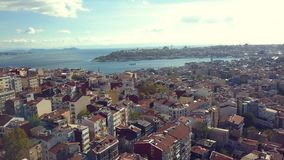 Lovely Istanbul Turkey on a sunny day. View of Istanbul Turkey from the sky on a sunny day stock footage