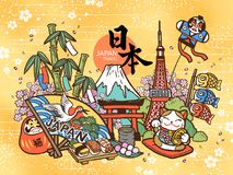 Lovely Japan travel concept royalty free illustration