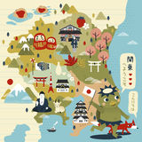 Lovely Japan travel map Royalty Free Stock Photography