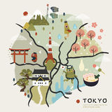 Lovely Japan walking map Stock Photography