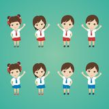 Lovely Kid Cartoon with lovely and cute Character. Simple, cute, and funny illustration. red and white uniform and wearing a tie Royalty Free Stock Image