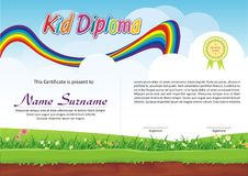 Lovely Kid Diploma - Certificate. Preschool / kindergarten Lovely Kid Diploma - Certificate template design with cute and beautiful landscape with rainbow design Stock Images