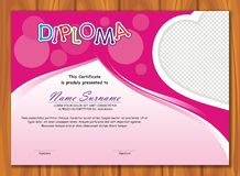 Lovely Kid Diploma - Certificate. Preschool / kindergarten Lovely Kid Diploma - Certificate template design with cute and adorable color design, suitable and Stock Image