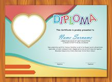 Lovely Kid Diploma - Certificate. Preschool / kindergarten Lovely Kid Diploma - Certificate template design with cute and adorable color design, suitable and Stock Images