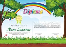 Lovely Kid Diploma - Certificate. Preschool / kindergarten Lovely Kid Diploma - Certificate template design with cute and beautiful landscape with rainbow design Stock Image