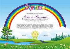 Lovely Kid Diploma - Certificate. Preschool / kindergarten Lovely Kid Diploma - Certificate template design with cute and beautiful landscape with rainbow design Stock Photo
