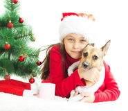 Lovely kid in Santa hat Stock Photography