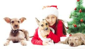 Lovely kid in Santa hat Stock Photography