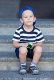 Lovely kid waiting for a walk Stock Images