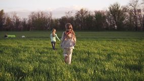 Lovely kids couple running on a grass field. Slow motion shoot of a two small sisters running happily on a grass meadow stock video footage