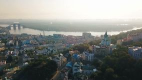 Lovely Kiev Ukraine. Andrew`s Descent old street. Panaramic aerial drone sunrise view. Historical center. Lovely Kiev Ukraine. Andrew`s Descent old street stock footage