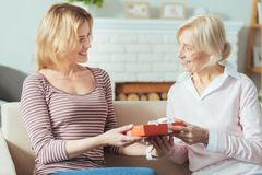 Lovely kind pensioner giving a beautiful present to her granddaughter stock photo