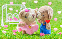 Lovely kiss baby bears crochet doll Stock Photo
