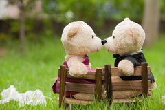 Lovely kiss teddy bear sit on wooden chair, Concept wedding of l Royalty Free Stock Photography