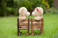 Lovely kiss teddy bear sit on wooden chair, Concept wedding of l Royalty Free Stock Images