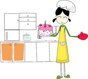 A lovely kitchener. Cooking a cake for her lover Royalty Free Stock Photo