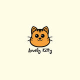 Lovely Kitty, Cute Cat Logo Vector Design Illustration. Clipart Stock Image