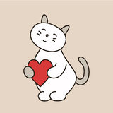 Lovely kitty for the day of St. Valentine with heart color Royalty Free Stock Photos