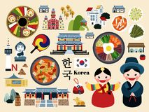 Lovely Korea travel concept set Stock Photography