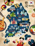 Lovely Korea travel map Royalty Free Stock Photography