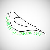 Lovely laconical card for world sparrow day. Print for t-shirt with sparrow. Stock Photos