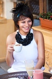 Lovely lady with coffee cup Royalty Free Stock Images