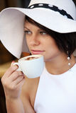 Lovely lady with coffee cup Royalty Free Stock Photos