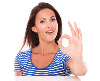 Lovely lady gesturing great job ok sign Stock Image