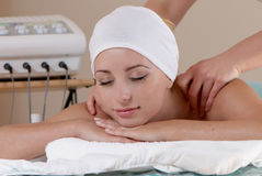 Lovely lady in massage salon Royalty Free Stock Image