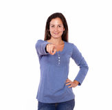 Lovely lady pointing at you while standing Royalty Free Stock Photo