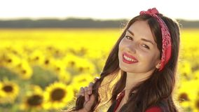 Lovely lady posing and smiling in nature stock video footage