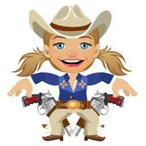 Lovely lady Sheriff, vector character closeup. Lovely lady Sheriff with gun, vector character closeup Royalty Free Stock Photo