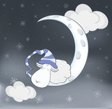 Lovely lamb and a moon Cartoon Royalty Free Stock Images