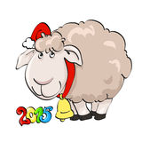 Lovely lamb in Santa's cap with bell. Symbol of year 2015. Lovely lamb in Santa's cap with hand bell on the isolated white background. Illustration, vector Stock Photo