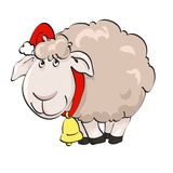 Lovely lamb in Santa's cap with lantern. Symbol of year 2015. Lovely lamb in Santa's cap with lantern on the isolated white background. Illustration, vector Stock Photo