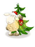 Lovely lamb in Santa's cap with lantern Royalty Free Stock Photo