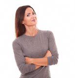 Lovely latin in grey blouse looking at you Stock Photos