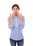 Lovely latin woman with surprised gesture stock image