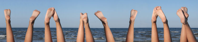 Lovely legs on the beach 6 set. Lovely legs on the beach six set under sky Royalty Free Stock Images