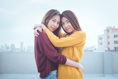Lovely lesbian couple together concept. Couple of young women hu Stock Photography