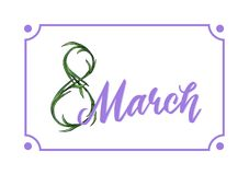 Lovely lilac 8 march holiday design template stock illustration