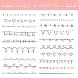 Lovely line border design kit - femine and cute ornament collection. Lovely line border design kit. Perfect for border, frame, divider, decor, invitation card Royalty Free Stock Image