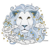 Lovely lion coloring page Royalty Free Stock Photo