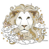 Lovely lion coloring page Royalty Free Stock Photography