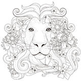 Lovely lion coloring page. Lovely lion with flowers coloring page in exquisite style Royalty Free Stock Photos