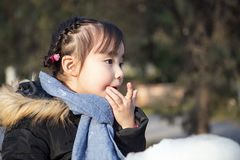 Lovely little asian girls playing in the park Royalty Free Stock Photography